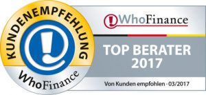 Beste Finanzberater Deutschlands - Whofinance Siegel Top Berater 2017_03.17_xxl